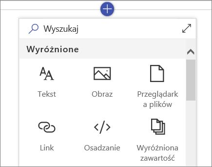 Zestaw narzędzi Składniki Web Part usługi SharePoint online