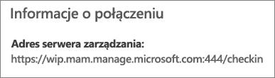 """Strona Zarządzane przez zawiera adres URL informacji o połączeniu z wyrazami """"mam"""" i """"wpi""""."""