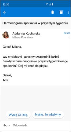 Wiadomość e-mail z dwiema sugerowanymi odpowiedziami