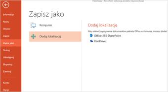 Dodawanie usługi OneDrive jako lokalizacji
