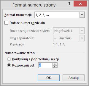Wyświetlane są opcje w oknie dialogowym Format numeru strony.