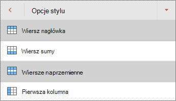 Menu stylów wierszy nagłówka tabeli w programie PowerPoint dla systemu Android.