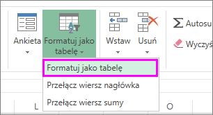 Przycisk umożliwiający formatowanie danych jako tabeli