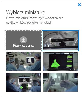 Zrzut ekranu przedstawiający okienko Wybierz miniaturę.