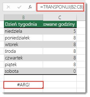 Błąd #ARG! w funkcji TRANSPONUJ