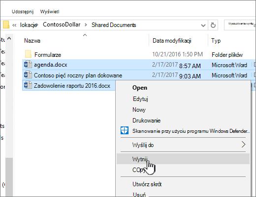 Kliknij prawym przyciskiem myszy i wybierz Wytnij, aby przenieść plik