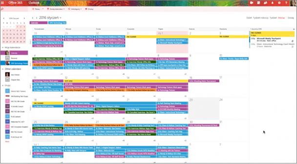 Przykładowy kalendarz grupy z pokolorowanymi oznaczającą różnych grup