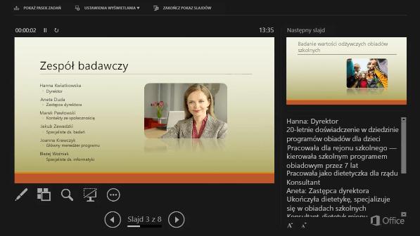 Widok prezentera w programie PowerPoint 2016 z zakreślonymi notatkami prelegenta