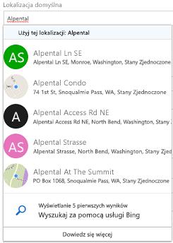 Sugerowane lokalizacje dostępnych za pośrednictwem usługi Bing