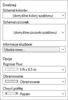 Zrzut ekranu programu Publisher dostosowywanie i opcje odpowiednie opcje.