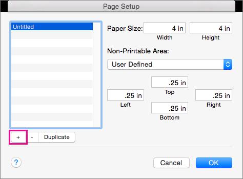 W oknie Ustawienia strony wybierz pozycję Własne wymiary stron, aby utworzyć niestandardowe rozmiary papieru.