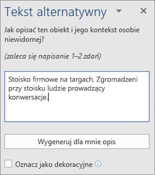 Okno dialogowe Tekst alternatywny w aplikacji Word dla systemu Windows