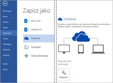Zapisywanie pliku w usłudze OneDrive