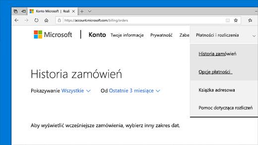 Sprawdzanie historii zamówień konta Microsoft