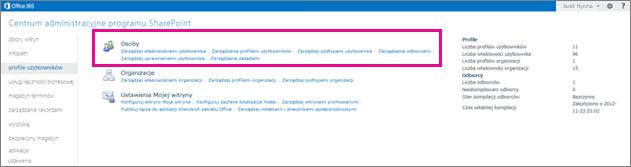 Zrzut ekranu przedstawiający Centrum administracyjne usługi SharePoint Online z wybraną stroną profilów użytkowników