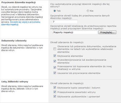 Strona Konfigurowanie ustawień inspekcji