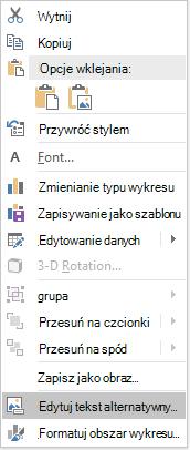 Edytowanie menu tekstu alternatywnego dla wykresów w programie PowerPoint Win32