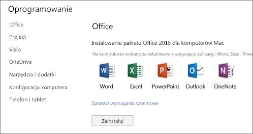 Ekran instalowania oprogramowania Ustawienia usługi Office 365 na komputerze Mac