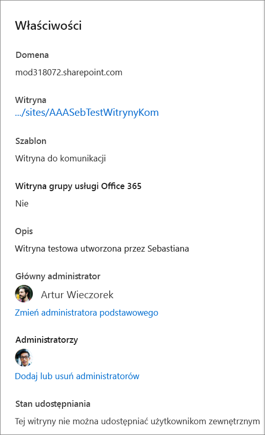 Właściwości witryny w okienku szczegółów
