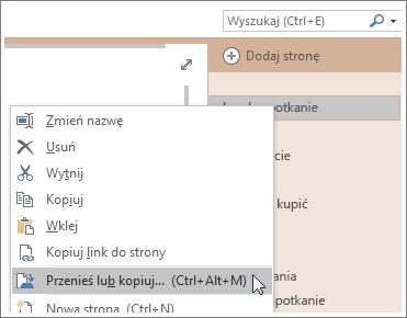Zrzut ekranu przedstawiający przenoszenie lub kopiowanie strony w programie OneNote 2016.