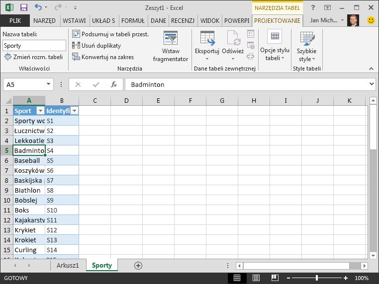 Nadawanie nazwy tabeli w programie Excel