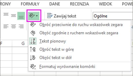 Opcje orientacji czcionki na karcie Narzędzia główne