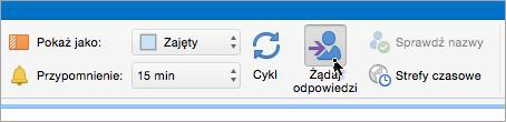 Zrzut ekranu przedstawiający przycisk Żądaj odpowiedzi w programie Outlook 2016 dla komputerów Mac