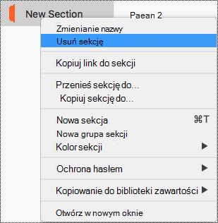 Menu kontekstowe sekcji na komputerze Mac z wyróżnionym poleceniem Usuń sekcję.