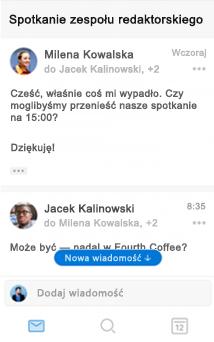 Nowe środowisko konwersacji w aplikacji Outlook dla systemu iOS