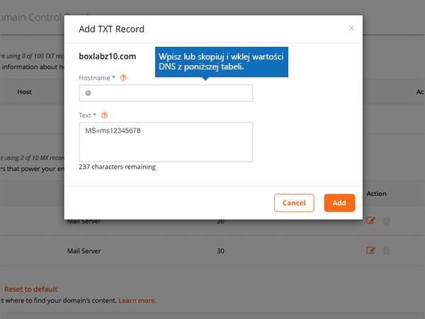 Wpisz lub Wklej wartości DSN na stronie Dodawanie rekordu TXT