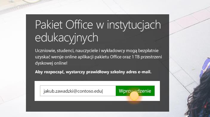 Zrzut ekranu przedstawiający stronę logowania wprowadzenie.