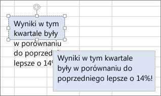 Zmienianie rozmiaru pola tekstowego w celu pomieszczenia jego zawartości