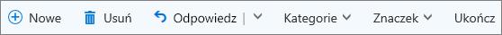 Pasek poleceń usługi Outlook.com dla otagowanych wiadomości e-mail na liście Oflagowane elementy i zadania