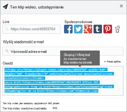 Przykład osadzania zawartości na stronie programu SharePoint przy użyciu kodu osadzania