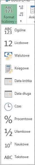 Dostępne formaty liczb