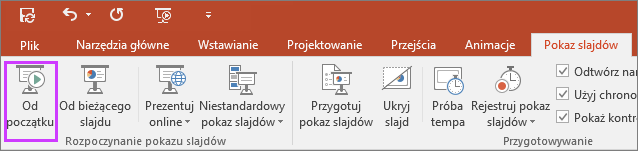 Przycisk Od początku na karcie Pokaz slajdów w programie PowerPoint