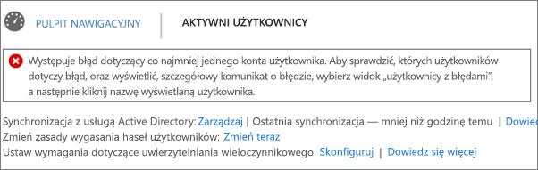 Deklaracja błędów synchronizacji katalogów u góry strony Aktywni użytkownicy