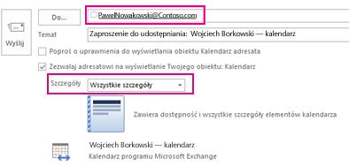 Wiadomość e-mail z zaproszeniem do zewnętrznego udostępniania skrzynki pocztowej — pole Do i ustawienie Szczegóły