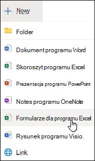 Wstawianie funkcji Form dla programu Excel w aplikacji Excel Online