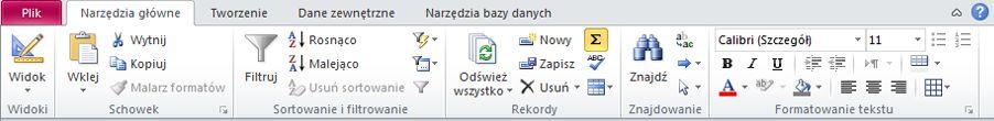 Wstążka w programie Access 2010