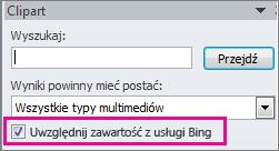 Pole wyboru Uwzględnij zawartość z usługi Bing