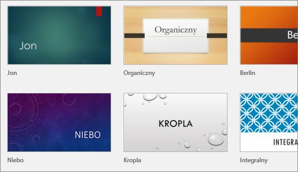 Motywy w programie PowerPoint widoczne po przejściu do pozycji Plik > Nowy