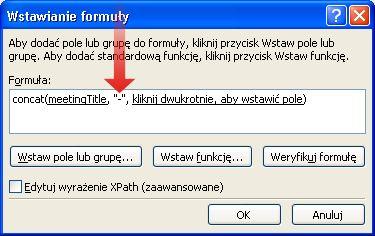 Wstawianie znaku łącznika jako części nazwy formularza