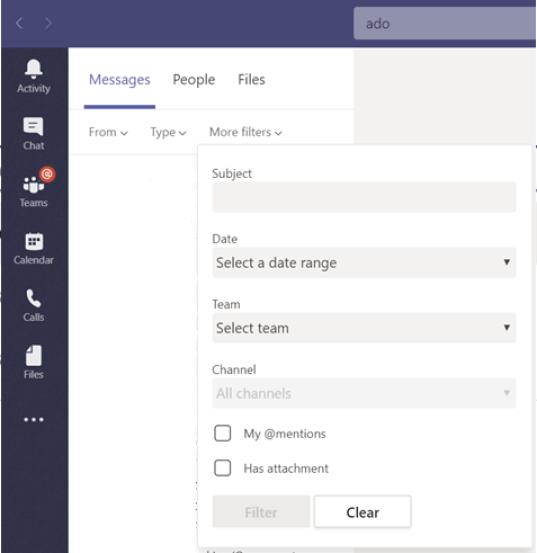 Opcje filtru wyszukiwania w aplikacji Teams