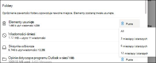 Ustawienia magazynu dla Outlook.com.