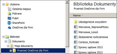 Folder tymczasowy po przeniesieniu plików z zsynchronizowanego folderu usługi OneDrive dla Firm w programie SharePoint