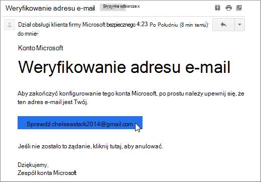 Weryfikowanie adresu e-mail