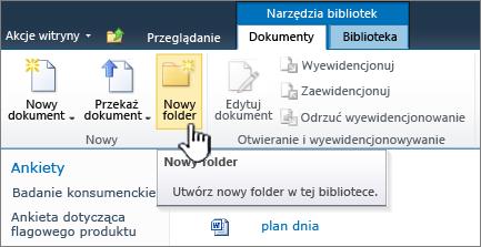 Wstążka dokumentów programu SharePoint 2010 przy użyciu nowego folderu wyróżnione