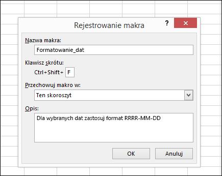 Polecenie Zarejestruj makro w grupie Kod na karcie Deweloper