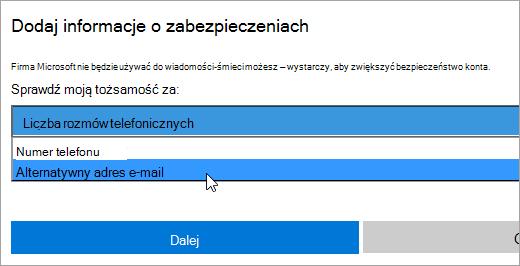 Zrzut ekranu przedstawiający okno dialogowe Informacje o zabezpieczeniach Dodaj.
